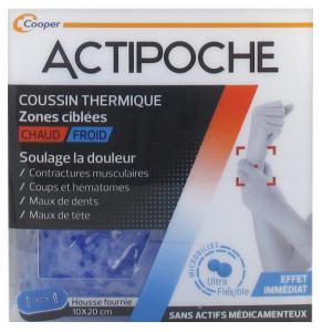 ACTIPOCHE POCHE MICROBILLES ZONE CIBLÉE Le coussin thermique ACTIPOCHE permet de soulager rapidement la douleur par son action à chaud (terhmothérapie) ou à froid (cyrothérapie).